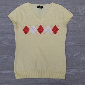 New York & Company yellow cardigan sweater vest